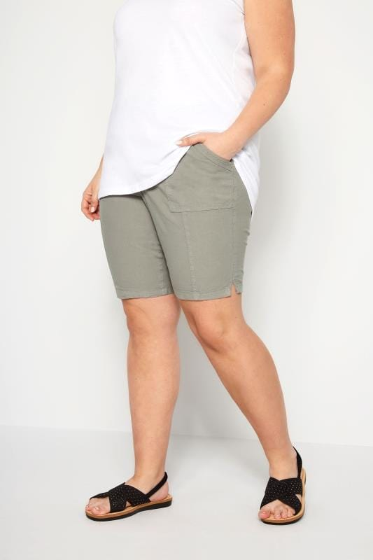 Plus Size Cotton Shorts Sage Green Cool Cotton Pull On Shorts