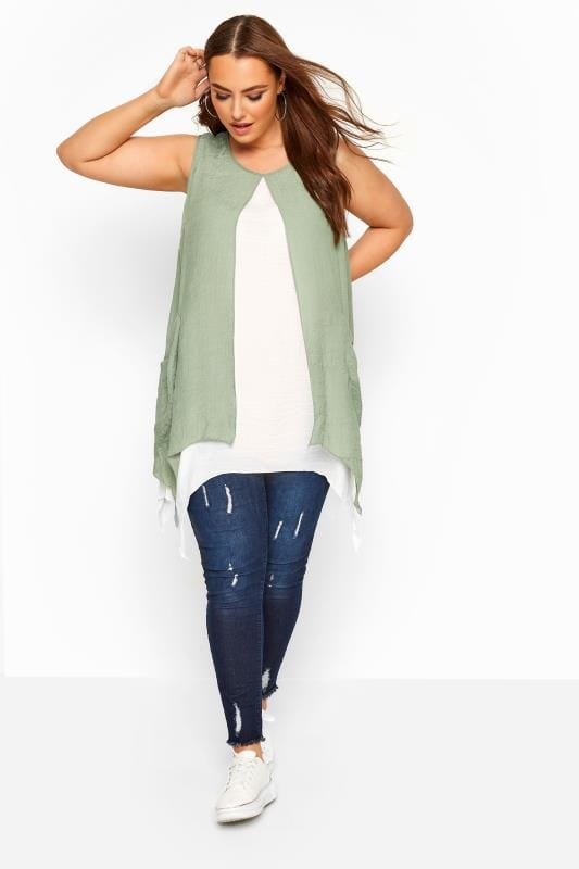 Sage Green Double Layer Button Pocket Tunic