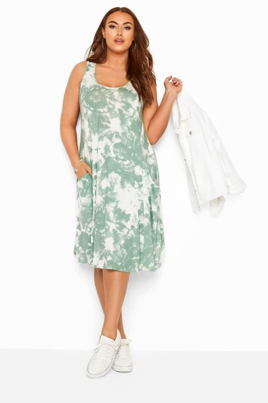 Plus Size Jersey Dresses Sage Green Tie Dye Sleeveless Drape Pocket Dress