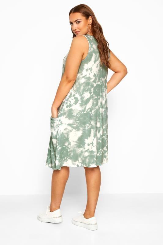 Sage Green Tie Dye Sleeveless Drape Pocket Dress