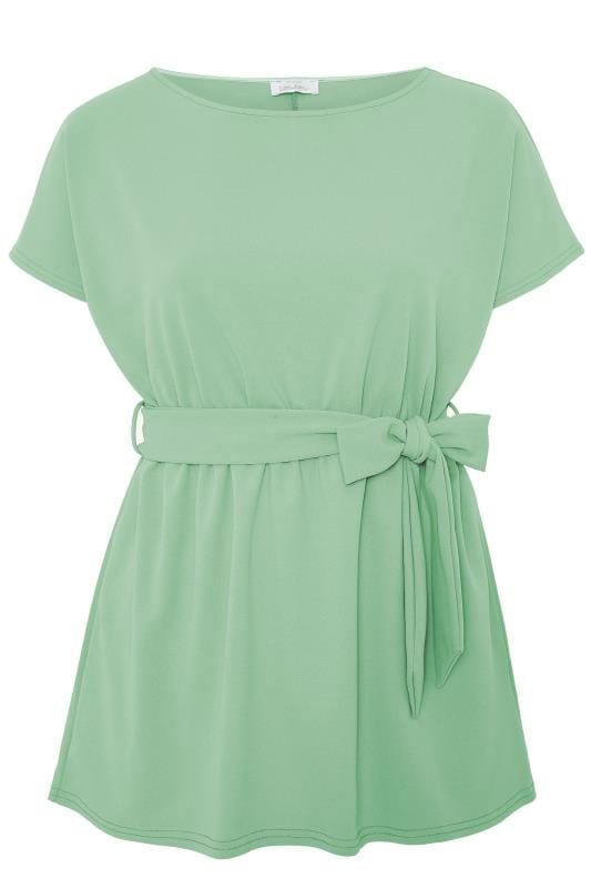 YOURS LONDON Sage Green Belted Peplum Top