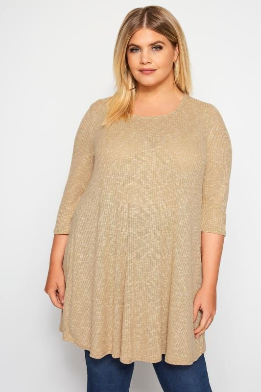 Plus Size Jersey Tops Sand Marl Ribbed Tunic Top