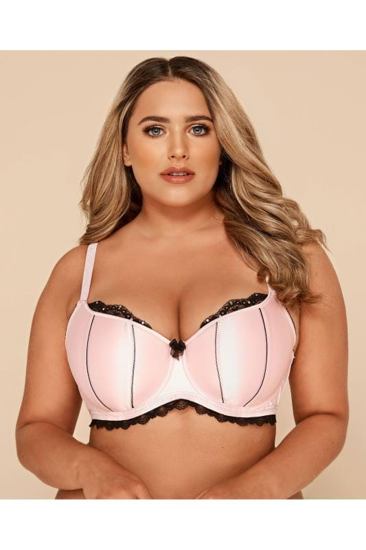 Plus Size Underwired Bras Satin & Lace Pink Underwired Bra
