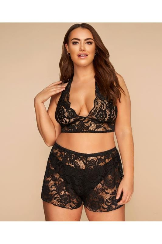 LIMITED COLLECTION Black Lace Bralette & Shorts Lingerie Set
