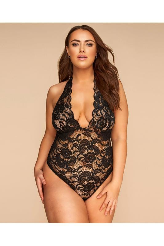 Plus Size Sexy Lingerie LIMITED COLLECTION Black Halter Neck Lace Body