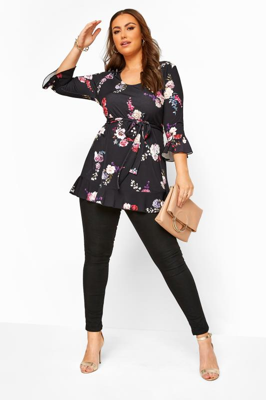 YOURS LONDON Black Floral Frill Belted Top