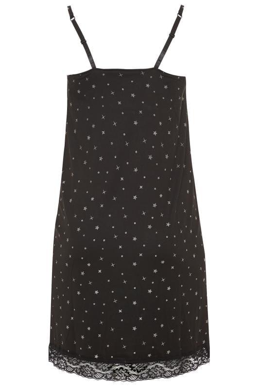 Black Glitter Star Print Loungewear Chemise