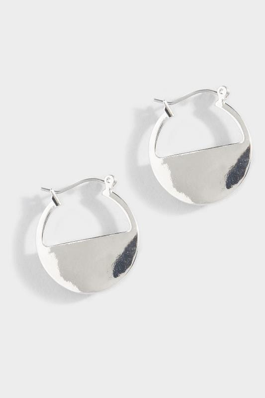 Silver Semi Circle Hoop Earrings