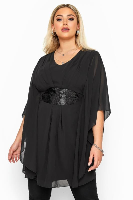 Plus Size Party Tops YOURS LONDON Black Sequin Waist Chiffon Tunic