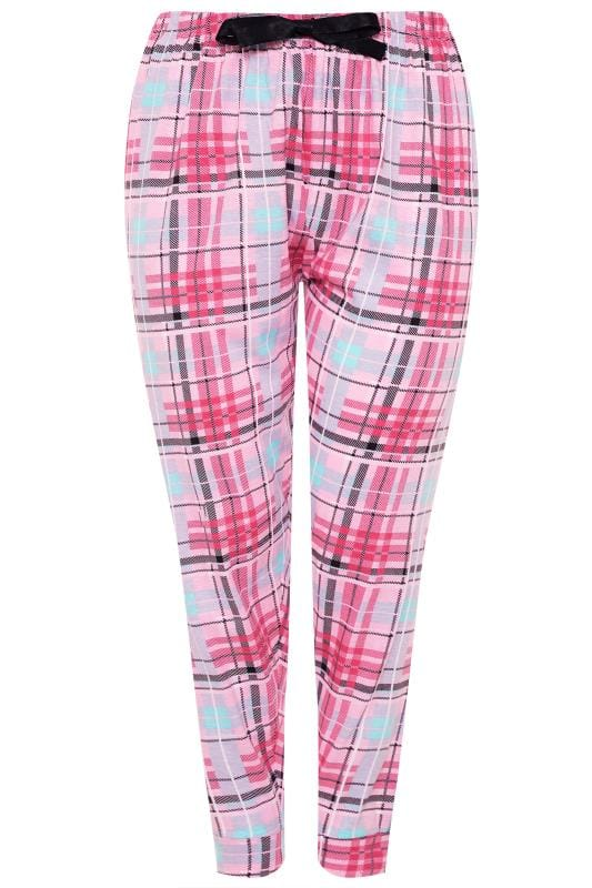 Plus Size Pyjamas Pink Check Pyjama Bottoms