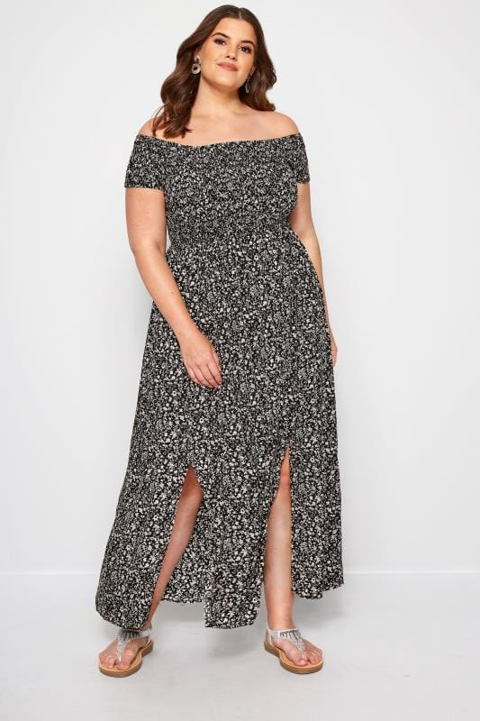 Plus Size Maxi Dresses Black Floral Shirred Maxi Dress