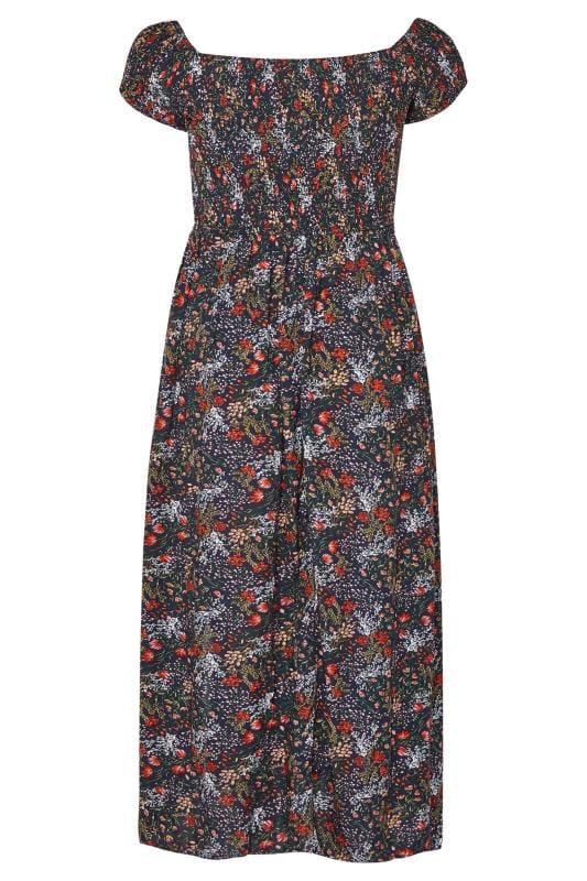 Navy Floral Shirred Maxi Dress