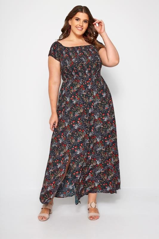 Plus Size Maxi Dresses Navy Floral Shirred Maxi Dress