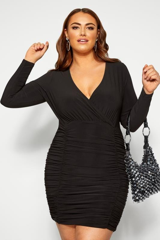 Plus Size Black Dresses LIMITED COLLECTION Black Ruched Wrap Bodycon Dress