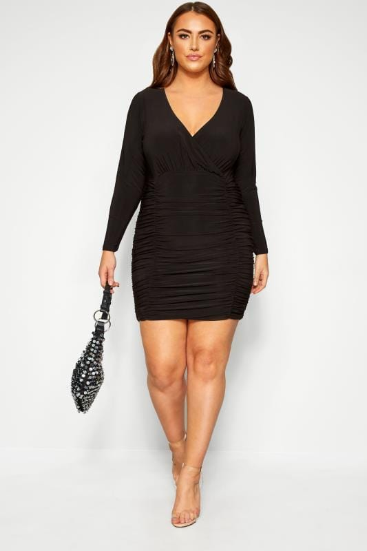 LIMITED COLLECTION Black Ruched Wrap Bodycon Dress