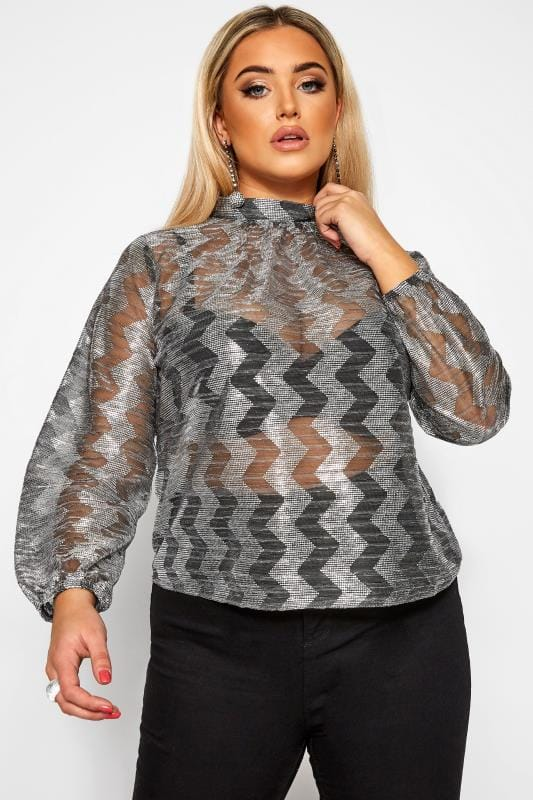 Plus Size Party Tops LIMITED COLLECTION Silver Sparkle Zig Zag Blouse