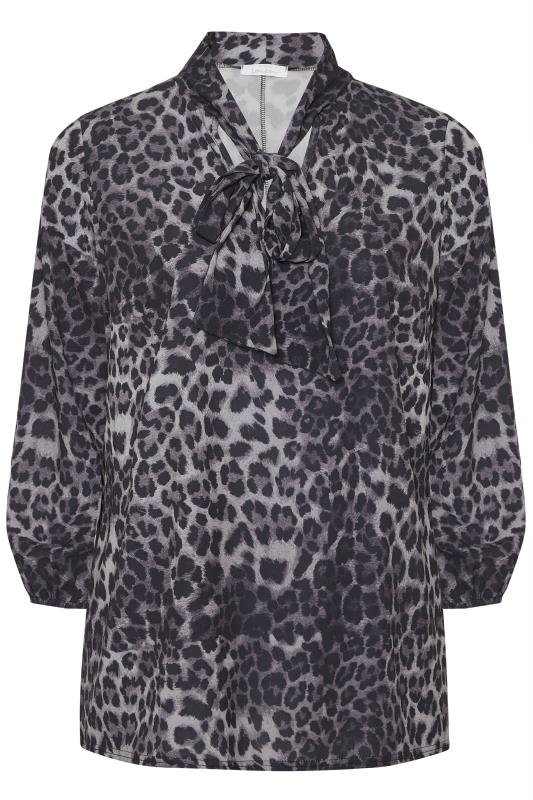 YOURS LONDON Grey Animal Print  Bow Blouse