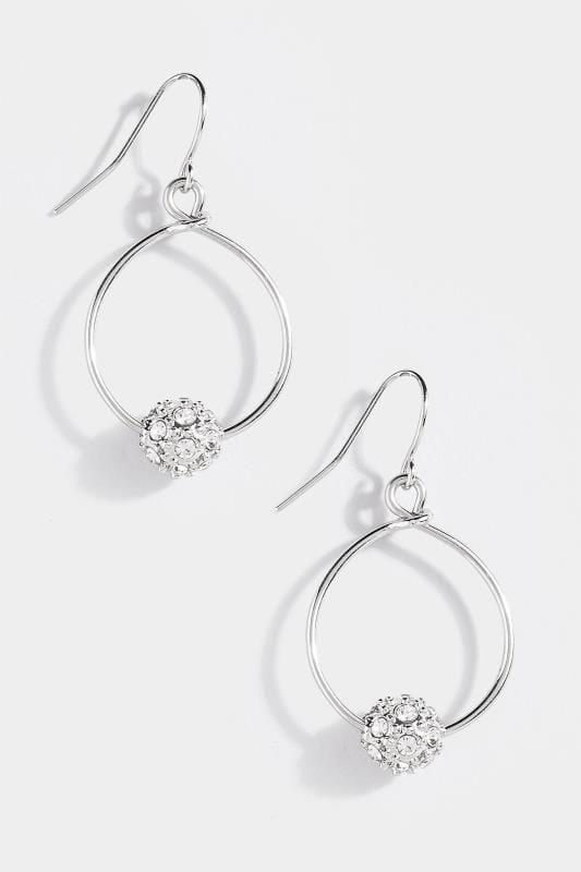 Silver Bead Drop Hoop Earrings