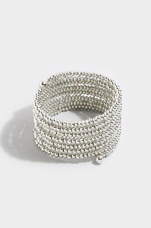 Silver Bead Stacked Bangle
