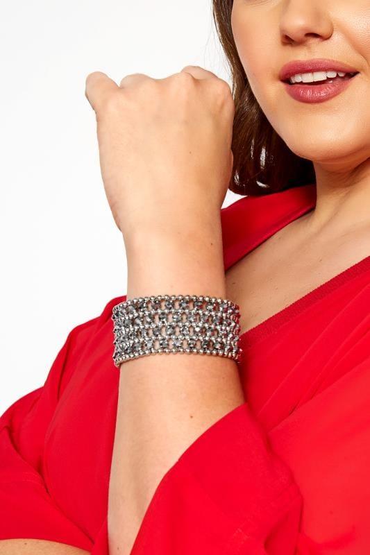 Plus Size Jewellery Silver Beaded Bracelet