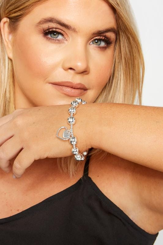 Plus Size Bracelets Silver Beaded Heart Charm Bracelet