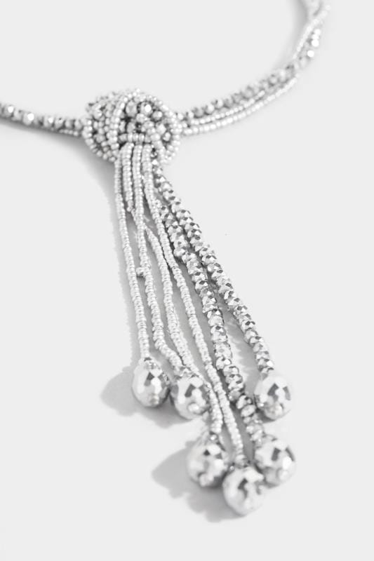 Silver Long Beaded Necklace