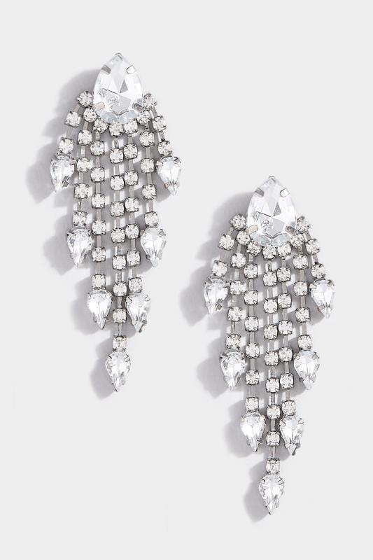 Silver Beaded Tassel Earrings