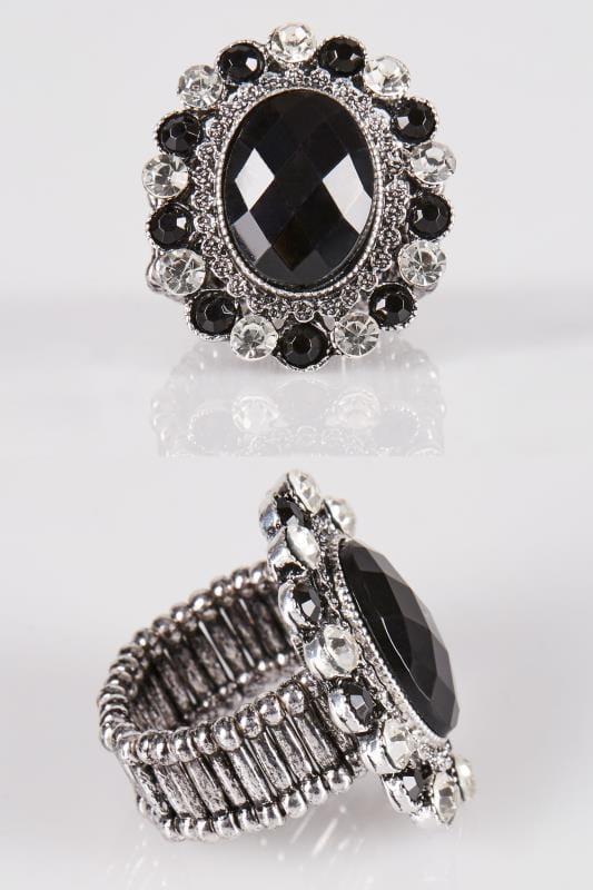 Pierścionki dla puszystych Elastyczny pierścionek z czarnym oczkiem
