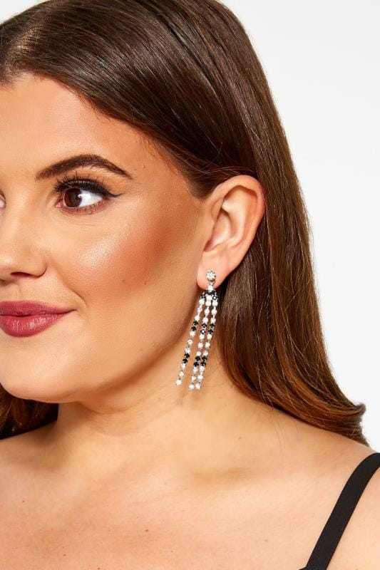 Plus Size Jewellery Silver & Black Diamante Tassel Earrings