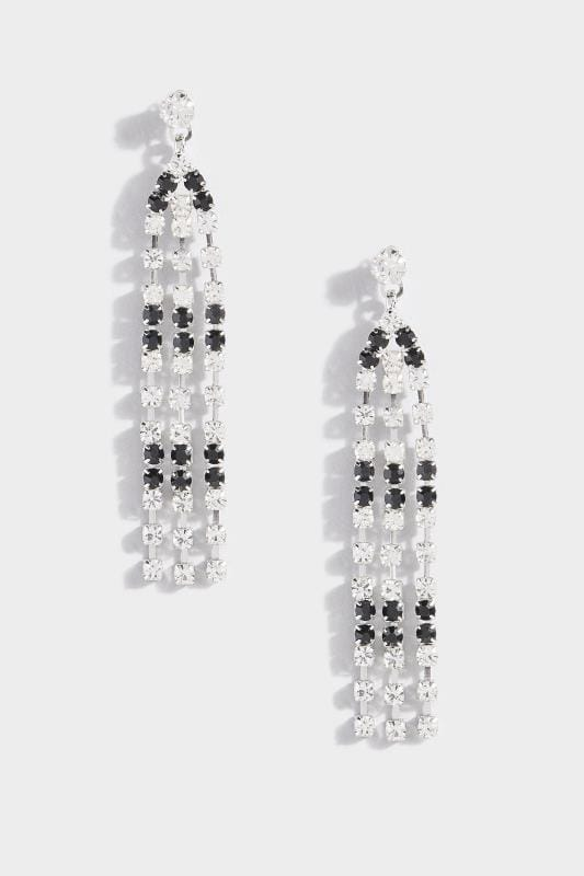Silver & Black Diamante Tassel Earrings_565b.jpg