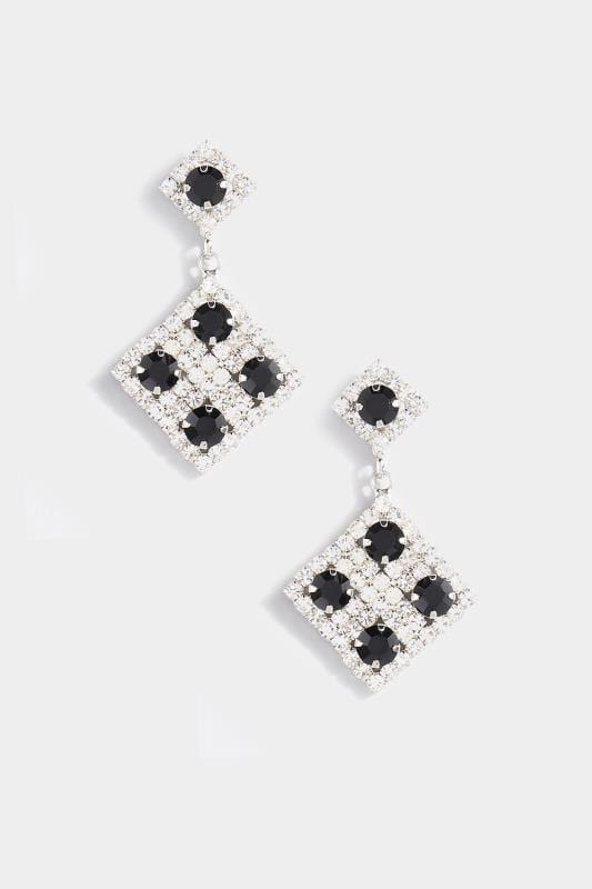 Silver & Black Diamond Drop Earrings
