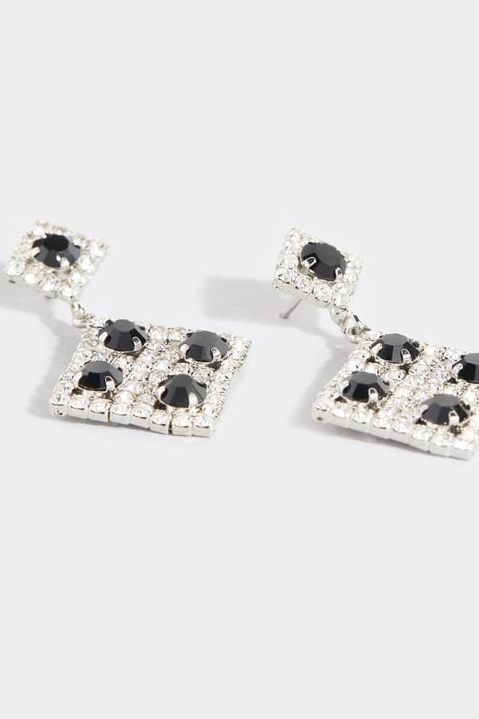 Silver & Black Diamond Drop Earrings