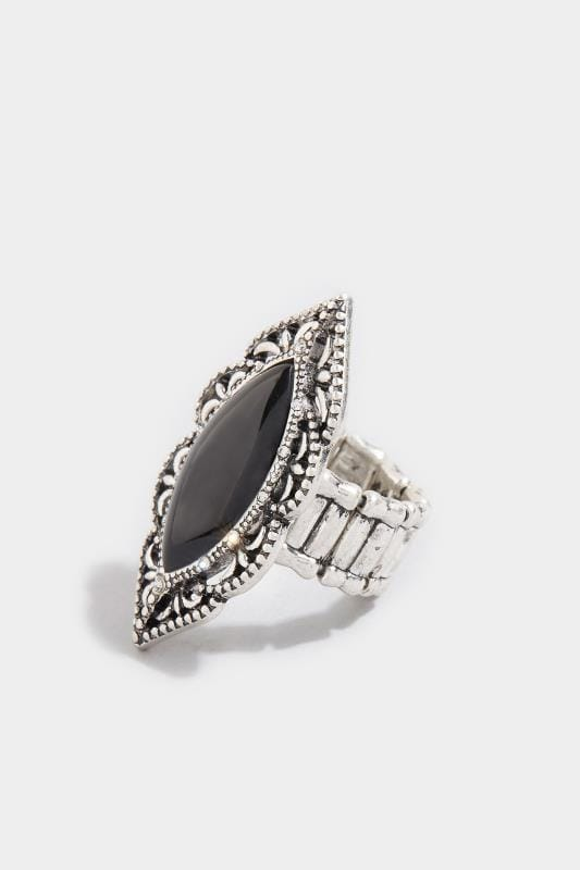 Silver & Black Embossed Stone Ring