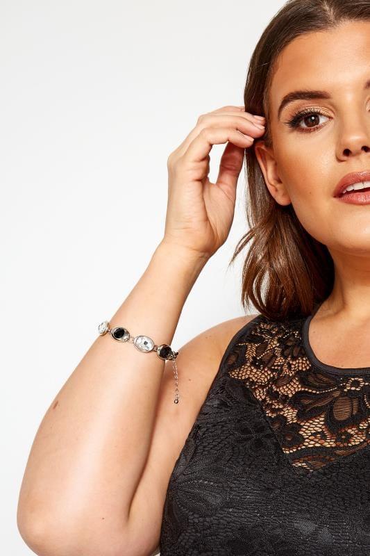 Plus Size Jewelry Silver Black Gem Multi Chain Bracelet