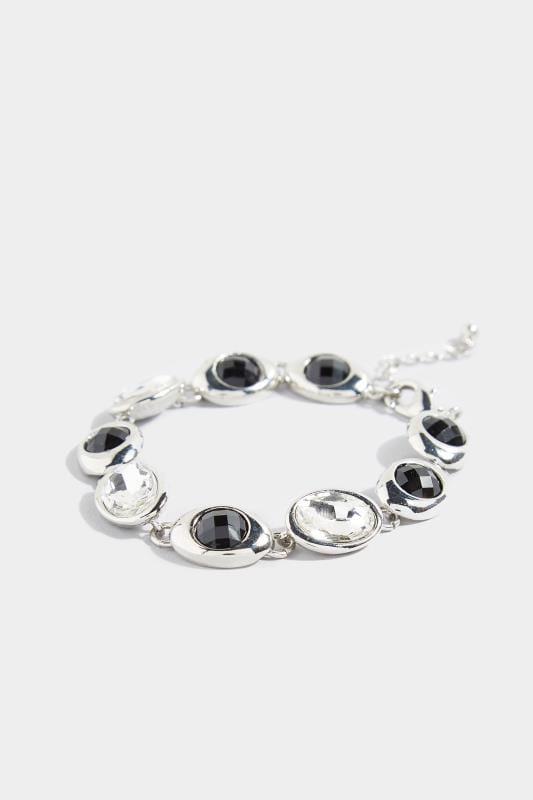Große Größen Schmuck Armband mit schwarzen Steinen - Silberfarben