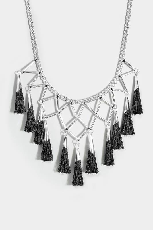 Silver & Black Geometric Tassel Necklace