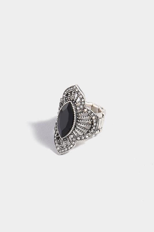 Silver Black Stone Diamante Ring