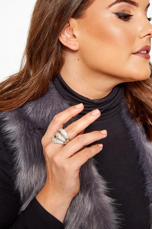 Plus Size Jewellery Silver Bling Wave Ring