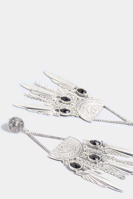 Silver Boho Chandelier Earrings