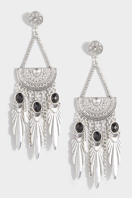 Ohrhänger mit schwarzen Steinen - Silberfarben