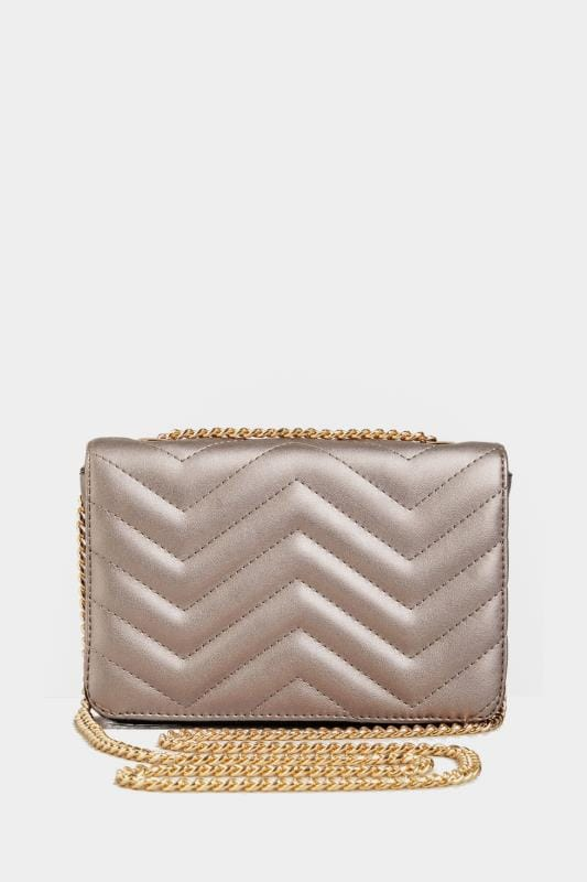 Silver Metallic Chevron Cross Body Bag