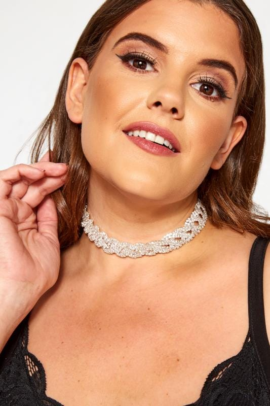 Plus Size Jewellery Silver Diamante Choker
