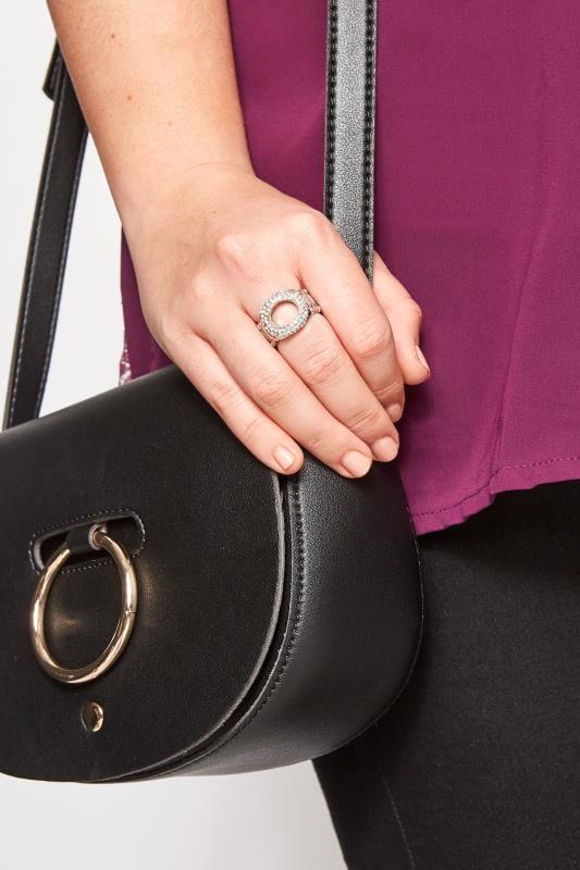 Silver Circle Diamante Ring