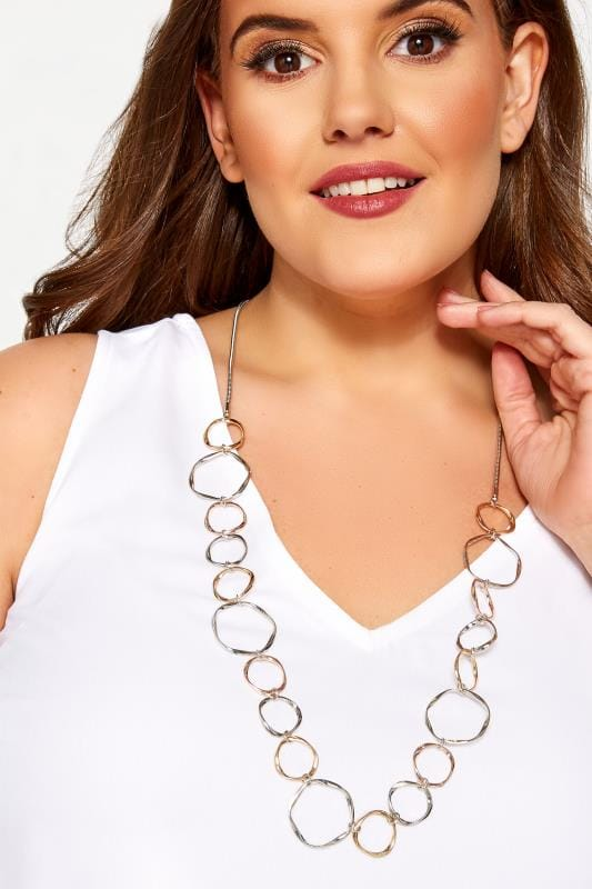 Plus-Größen Plus Size Jewellery Silver Circle Necklace