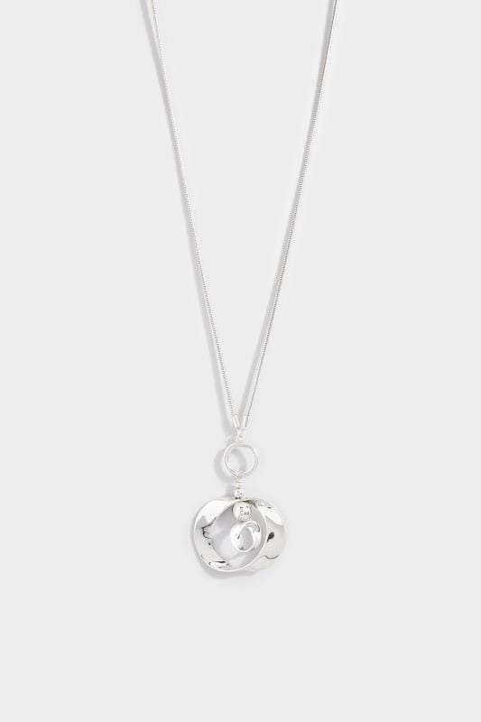 Silver Twisted Circle Pendant Drop Necklace