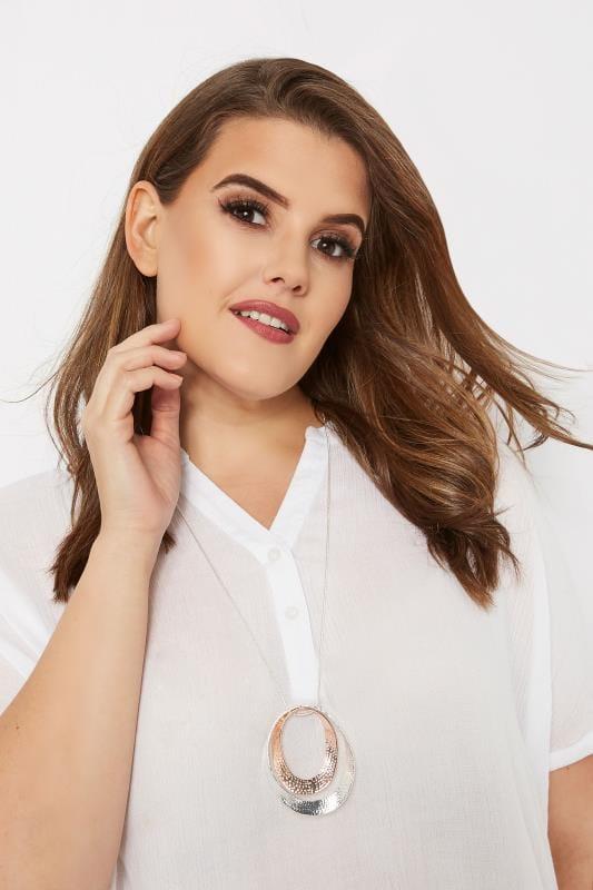 Plus Size Jewellery Silver Circular Pendant Necklace