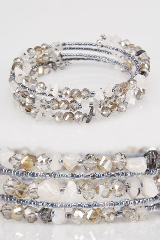 Silver Coil Bracelet With Tonal Stone & Bead Detail