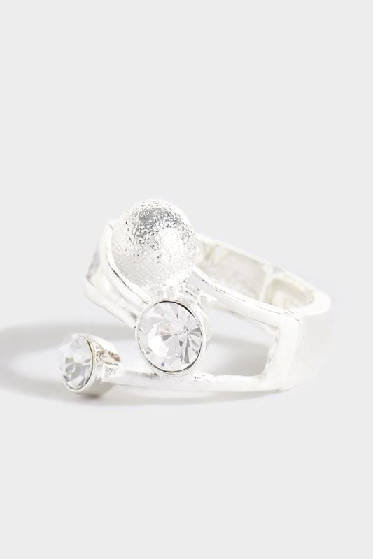 Ring mit Kristall - Silberfarben