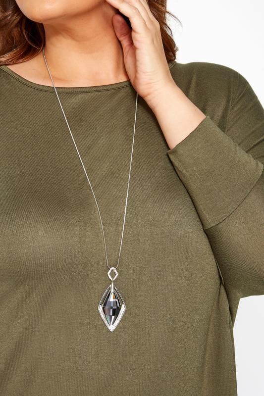 Große Größen Schmuck Halskette mit Kristall-Anhänger - Silberfarben