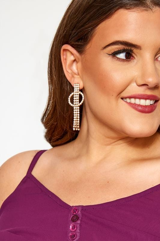 Plus Size Jewellery Gold Diamante Tassel Earrings